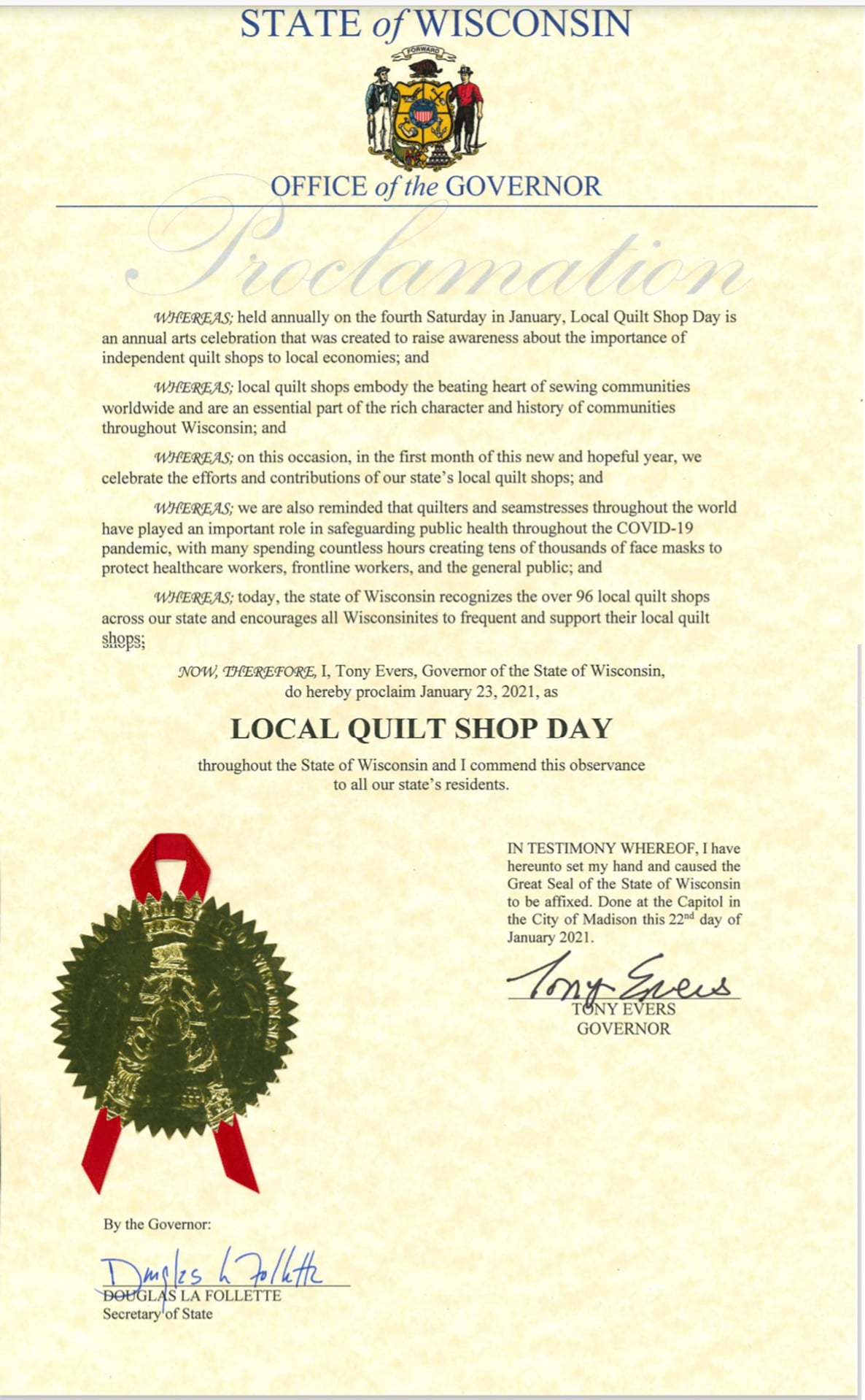 STATE OF WISCONSIN PROCLAIMS LOCAL QUILT SHOP DAY Saturday, January 23. 2021